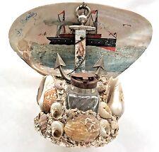 "Antique Vintage Anchor Ship ""La Rochelle"" Seashell Shell Inkwell France Souvenir"