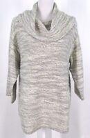 Pure Jill J Jill Tunic Sweater Sz S Cowl Neck Wool Blend Knit Gray Cream Small