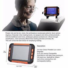 "LED Electronic Pocket Reading Digital Aid 2-32X for Low Vision Orange 3.5"""