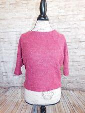 Piko Womens Knit Top Small Medium Large Fushia Short Sleeve Acrylic Sweater Casu