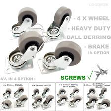 More details for 4 x heavy duty Ø 30 40 mm swivel - brake castor wheels trolley furniture rubber