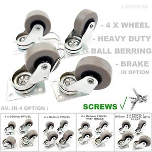 4 x Heavy Duty Ø 30 40 mm Swivel - Brake Castor Wheels Trolley Furniture Rubber