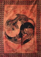 Dragon Yin Yang Wall Hanging Handmade Tapestry Poster Small Bohemian Indian Art
