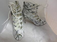 Black and White Lace Up detail Peeptoe ankle boots UK 5 EU 38 JS29 78