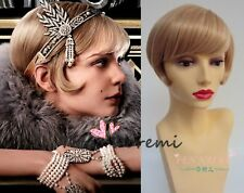 Halloween Wig Costume The Great Gatsby brown mix Cosplay Heat Resistant 35CM