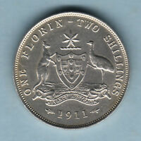 Australia.  1911 Florin - 8 Pearls (just visible).  gVF/aEF - Part Lustre