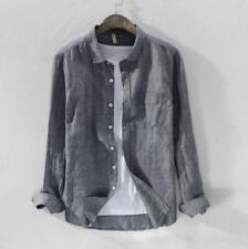 Mens Cotton Linen Slim Fit  Long Sleeve Shirts Dress Shirts Tops Blouse Casual