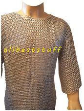 Aluminum Chain Mail Round Rivet Hauberk with Flat Solid Ring ChainMail Shirt