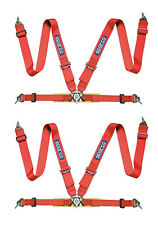 TWO (2) SPARCO 4PT 4 POINT COMPETITION RACING SEAT BELT HARNESSES PAIR - RED