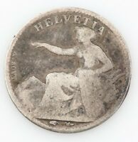 1851 SWISS 1/2 HALF FRANC SWITZERLAND FINE FOREIGN COIN
