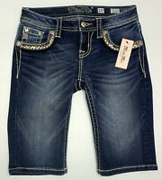 NWT $78 MISS ME GIRLS Denim Jeans Shorts Navy Blue YK7675M2 Bermuda Sz 8 10 NEW