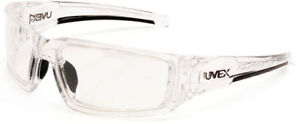 Uvex Hypershock Safety Glasses Clear Ice Frame Clear Hydroshield Anti-Fog Lens