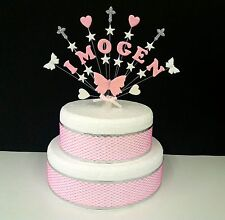 Mariposa, corazón, estrella comunión or bautizo torta topper, personalizado
