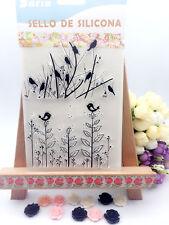 2x Bird & Tree Acrylic DIY Unmounted Stamp Plate for Scrapbook