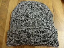 Mens Thermal Winter Warm Grey & White Ski Hat Cap Beanie New