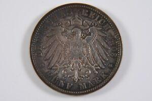 g62x29- 5 Mark Silber Münze, dt. Reich Georg König von Sachsen 1903