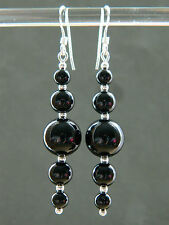 Black Onyx Graduating Round Gem Stones & 925 Sterling Silver Long Drop Earrings