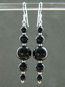 Black Onyx Graduating Round Gem Stones & 925 Sterling Silver Long Drop Earrings