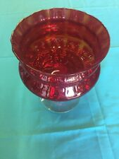 "Cranberry Glass Display Candy Bowl 9.5"" Tall 7"" Diameter Pedestal Bowl"