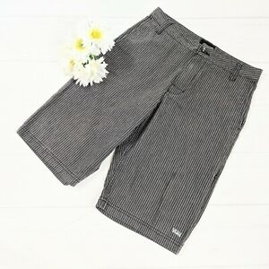 Vans Men's Black & Gray Striped Long Shorts Size 28