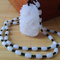 Chinese natural white hetian jade hand-carved Dragon pendant-Free Necklace%