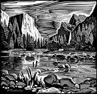 Yosemite walls woodcut/linocut style print by V. Derkach 11x12