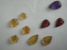 9 Piece Natural  Citrine Amethyst Garnet Carving Leaves 24Cts Mix Loose Gemstone
