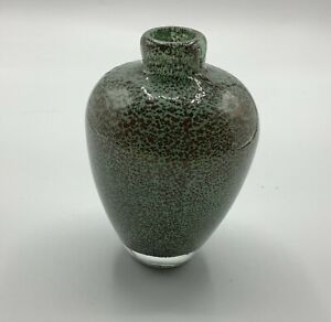 Tozai  Home Blue Green with Brown Gold Speckled pattern Art Glass Vase