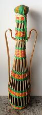 "Mid-Century 17.5"" Vinyl Wrapped Wicker Wine Bottle Decanter [from Spain] (EUC)"