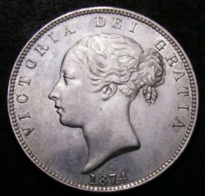 1874 UNC Queen Victoria Young Head Half Crown LCGS CGS 78 (MS63-64)