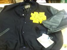 Notre Dame Varsity Letterman Jacket. Size LG in Navy Blue with Leather sleeves
