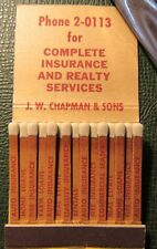 Matchbook - JW Chapman Real Estate Insurance Lubbox TX FULL PRINTED 30 STICK