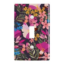 Haruna Floral Pattern Plastic Wall Decor Toggle Light Switch Plate Cover