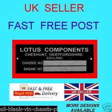LOTUS CHESHUNT ESPRIT EUROPA ELAN S CAR CHASSIS ALL-BLANK-VIN-CHASSIS-PLATES sm