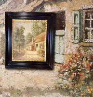 Impressionist E. MENTEN Idyllische Dorfszene, Ölgemälde Frankreich