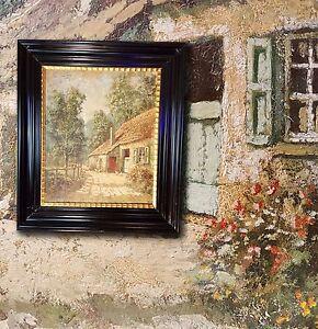 Schöner franz. Impressionist E. MENTEN Idyllische Dorfszene Ölgemälde Frankreich