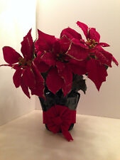 Red Poinsettia Glitter Plant Large Artificial Foil Wrapped Christmas Decor 15""