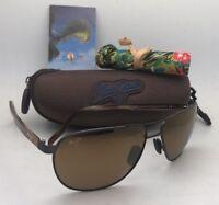 Polarized MAUI JIM Sunglasses CASTLES MJ 728-1M Matte Chocolate Aviator w/Mirror