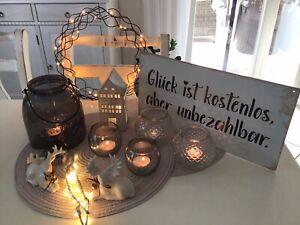 Deko Paket Shabby Chic Herbst Winter LED Kranz Metall Haus Hirsch Teelichtglas