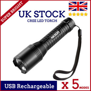 CREE LED TORCH FLASHLIGHT USB RECHARGEABLE ZOOMABLE 5 MODES SUPER BRIGHT