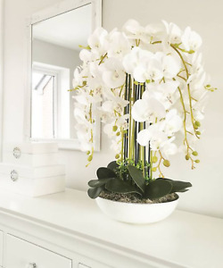 Beautiful  real touch white orchid arrangement in white vase💕