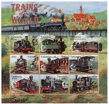 Tanzania 1995 MNH Trains 9v M/S I Railways Singapore 95 Züge Trenes Treni Stamps