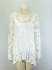 Ladies 2 in 1 Italian Long Sleeve Crochet Top Tunic Lace Mesh One Size Plus White