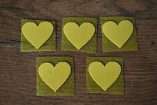 5 St. Herzen gelb Samt Flock Applikation zum aufbügeln Flicken Aufnäher Patch
