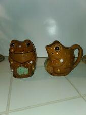 Vintage Frog Creamer Pitcher and Sugar Bowl Made In Japan