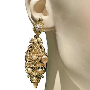 Antique Victorian 18K Gold Silver Rose-Cut Diamond Earrings Flower Floral Unique