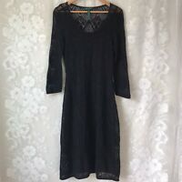 LRL Ralph Lauren Black Knit Linen Lace Overlay Dress Sheath Midi Lined Womens M