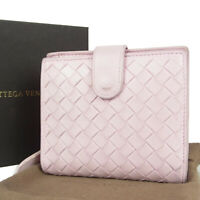 Auth BOTTEGA VENETA Intreciatto Leather Round Zipper Wallet Purse 15141bkac