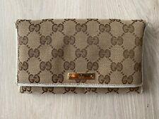 GUCCI Canvas Leather Vintage Monogram Brown Beige Flap Wallet Purse