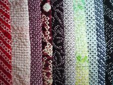 Shibori Silk Kimono Vintage Japanese Fabric, Set of 10 Silk Scraps